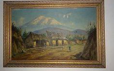Endara oil painting vintage 1930s original frame South America NR