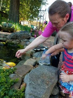 A Grandma is feeding the Koi with her little Granddaughter 😊 Koi, Jackson, Nursery, Patio, Fish, Garden, Garten, Baby Room, Pisces