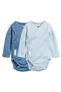 2-pack long-sleeved bodysuits - Blue - Kids | H&M GB 1
