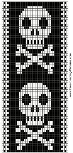 SKULLS  BEADWORK DESIGN - Guitar Strap (but wouldn't it make a great bracelet?)