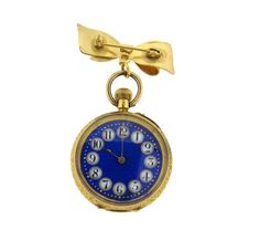 Antique 18k Gold Fancy Blue Dial Lapel Watch Featured in our upcoming auction on December 14, 2015 11:00AM EST!