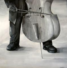 """Le contrabassiste""80 cm x 80 cm Acrylic on canvas SOLD"