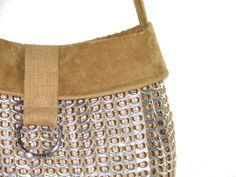 Unique Pop Top Purse with Tan Micro-Suede Trim and Shoulder Strap on Etsy,