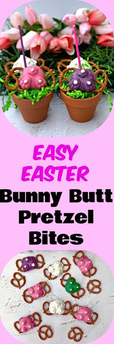 Easy 3 Ingredient Easter Bunny Butt Candy Pretzel Bites is a quick and easy seasonal holiday recipe using candy melts and a rabbit mold. This recipe is the best sweet and savory dessert perfect for parties, events, gatherings, and children Easter egg hunts. #Easter #EasterRecipes #EasterDIY #EasterDessert