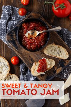 Best Tomato Recipes Sweet tomatoes, tangy vinegar and savory spices all combine in this homemade Sweet and Savory Tomato Jam recipe. Easy, versatile and absolutely irresistible! (No canning experience required! Relish Recipes, Jelly Recipes, Chutney Recipes, Fresh Tomato Recipes, Cherry Tomato Jam Recipe, Tomato Canning Recipes, Garden Tomato Recipes, Tomato Ketchup Recipe, Recipes