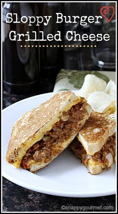 Sloppy Burger Grilled Cheese Sandwich Recipe - easy dinner, lunch or party food that combines two great comfort foods, a sloppy joe and grilled cheese! snappygourmet.com