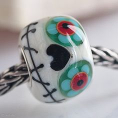 ADORABLE GlassBonBon Jack Love Heart Artisan Bead by Glass Bon Bon #etsy #muertos #lampwork