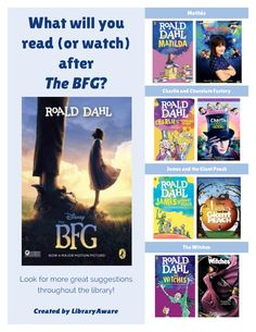 "In-house marketing is a great way for libraries to conduct readers' advisory. LibraryAware made this fantastic flyer to use to promote movie AND book read-alikes for the BFG. Cool, right? Search Flyers-books for ""BFG"" to use this flyer.You can easily customize by swapping covers, changing colors and fonts."