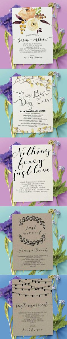 Fun and creative ways to announce your wedding elopement day! These wedding announcement cards are gorgeous and one of a kind. You can add your own personalized message to your family and friends. This way they will feel loved, remembered and special on your wedding day even tho they werent invited to your ceremony