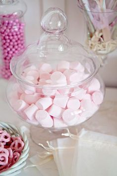 pink marshmallows- in a jar with tongs, 'eat me' tag? Flying saucers too? Pink and white stripy bags to out them in/ some already made up in a basket . Tag saying thanks for coming? Rose Turkish delight?