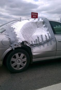 As far as duct tape car repairs go, this one's pretty extreme. Bmw 535i, Wtf Moments, Classic Mustang, Diy Car, Car Covers, Funny Laugh, Duct Tape, Amazing Cars, Go Shopping