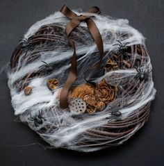 Not a fan some of it, but I love how the spiderweb looks on the wooden wreath form.