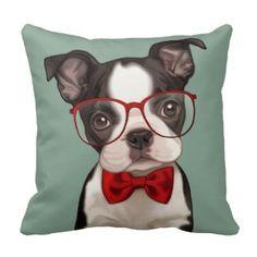 Hipster Boston Terrier Zierkissen #Dekokissen #Kissen #Zierkissen #DekokissenART