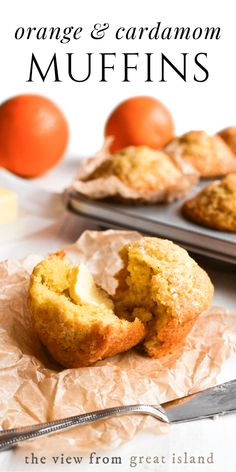 Orange and Cardamom Muffins ~ these easy one-bowl muffins are flavored with bright orange zest and spicy cardamom for a special winter breakfast treat. Recipes on a budget Orange and Cardamom Muffin Recipe