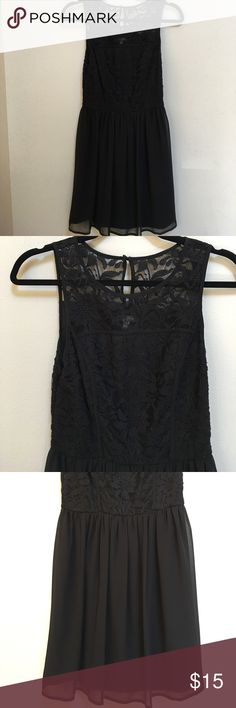 Black Lace Dress Lace top with button closure behind neck, flowy bottom half. Absolutely beautiful, no flaws! Lily Rose Dresses
