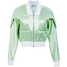 Prabal Gurung Bonded Satin Bomber Jacket ($3,150) ❤ liked on Polyvore featuring outerwear, jackets, prabal gurung, green bomber jacket, blouson jacket, green slip and flight jacket