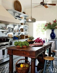 I just love the center island and how it contrast with the rest of the kitchen.