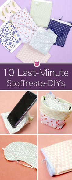 10 Last Minute Geschenkideen aus Stoffresten. Die perfekten Geschenke DIYs um Stoffreste zu verwerten. Einfache und schnelle Nähanleitungen oder auch basteln von DIY Eule.