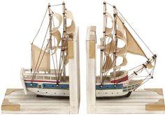 Benzara 60521 Nautical Coastal Book Ends As A White Trade Ship