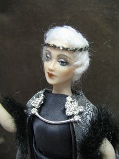 A Miniature Porcelain 1/12th scale dollhouse doll by KaysStudio, $145.00
