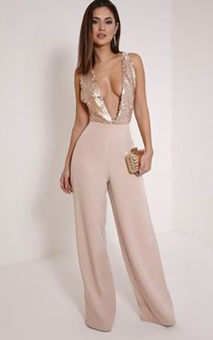 Rose Gold Sequin Plunge Cross Back Jumpsuit Work knock out style and nail dramatic glamour in this sleek jumpsuit. Rose Gold Jumpsuit, Sequin Jumpsuit, Pink Jumpsuit, Gold Pants, Gold Outfit, Monochrom, Classy Outfits, Fashion Outfits, Clothes