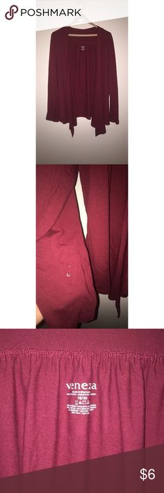Venezia Red Cardigan Red open faced cardigan. Size 18/20. Can be dressed up or worn casual. Shown in picture above, there's a tiny white paint stain on the lower end of the sleeve. Other than that, in good condition. Venezia Tops Blouses