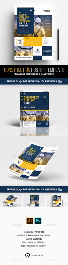 Construction #Poster Templates - #Corporate #Flyers