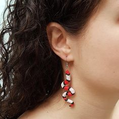 This Red Snake Earrings will definitely make a statement! If You like snakes and reptiles or looking for the perfect gift for a snake lover, then You came to the right place! Snake Earrings, Animal Earrings, Snake Jewelry, Black Earrings, Statement Earrings, Dangle Earrings, Milk Snake, Stainless Steel Earrings, Red Stripes