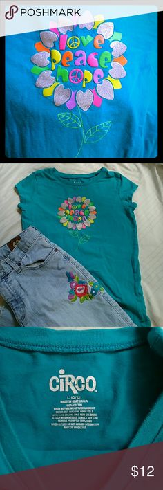 Girls large 10/12 teal love peace hope t shirt Pre loved good condition. Circo Shirts & Tops Tees - Short Sleeve