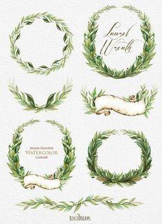 Laurel Wreath Aquarell Hand Painted Clipart von ReachDreams auf Etsy