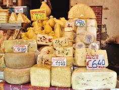 A Selection of Sicilian Cheeses in the Market