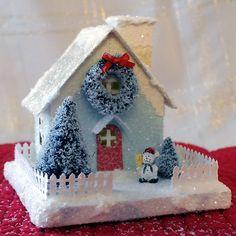 putz glitter house for christmas