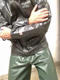 "rainwearprotect: ""Meet your neighbour in the basement. Latex Pants, Latex Suit, Nylons, Latex Men, Rubber Raincoats, Pvc Raincoat, Rain Gear, Comfy Pants, Sexy Men"