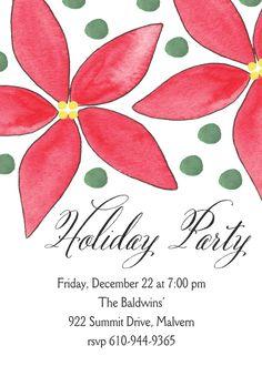 Poinsettia Invitation Christmas Dinner Invitation, Dinner Party Invitations, Open House Invitation, Invitation Design, Christmas Open House, Christmas Holidays, Poinsettia, Holiday Parties, Party Planning