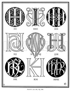 HI, HHI, IIH, HJ, HHJ, JJH, HK, KH, HHK. Illustration for Monograms and Ciphers designed and drawn by A A Turbayne and other members of the Carlton Studio (Caxton, 1905).