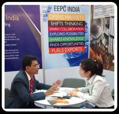 Mr. Chanchal Kr. Bhadra, Assistant Director, EEPC INDIA is interacting with a visitor.