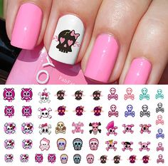 Cute Skulls Set #2 Nail Art Waterslide Decals - Monster High Style!
