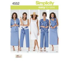 Simplicity easy-to-sew pattern for Misses' and Plus Size tank dress and top, kimono-jacket, pants, skirt, scarf or sash. From Designs by Karen Z.
