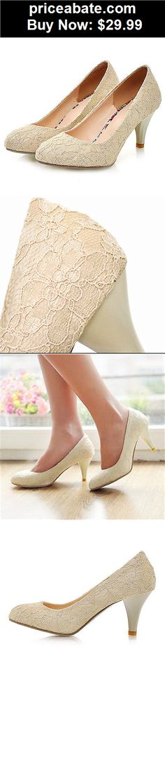 "Wedding-Shoes-And-Bridal-Shoes: 2"" heel Dark ivory satin lace low heels Wedding shoes pumps bridal size 5-11  - BUY IT NOW ONLY $29.99"