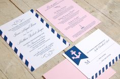 Anchor Collection Wedding Invitation - Navy, Pink and White - by Flair Designery. $100.00, via Etsy.