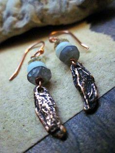 Organic earrings Cast bronze Semiprecious gemstones by HerWhimsy