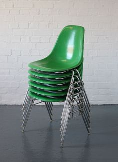 Eames stacking chairs. High furniture fashion. Useful in the classroom.