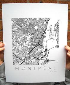 Montreal Map Art Screen Print  11x14 by iLikeMaps on Etsy