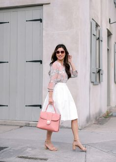 0bf36f9fbd4 affordable work outfit ideas    pink print blouse + white A line skirt  Uniqlo Skirts
