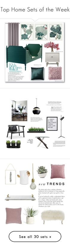 """""""Top Home Sets of the Week"""" by polyvore ❤ liked on Polyvore featuring interior, interiors, interior design, home, home decor, interior decorating, Pottery Barn, The French Bee, West Elm and 3R Studios"""