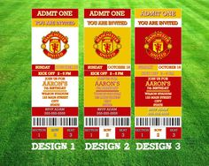 Manchester United Invitation by AWilsonDesigns on Etsy Printable Tickets, Printable Invitations, Ticket Design, Admit One, You Are Invited, 8th Birthday, Manchester United, The Unit, Party