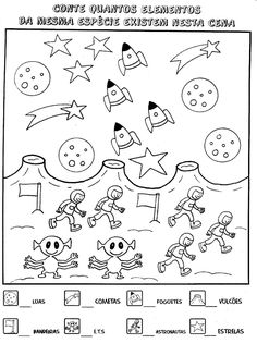 Nosso Espaço da Educação: Atividades de matemática para o 1º ano. Sistema Solar, Math Worksheets, Math Equations, Education, Words, Pin On, Free, Learning Activities, To Tell