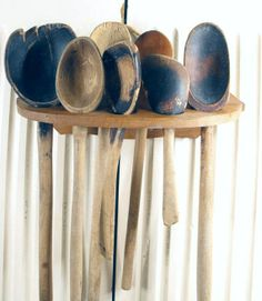 Old Wooden Spoons | Antique Primitive Wooden Spoons in Rack Treenware by ... | Wood Spoons