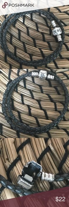 Pandora double grey leather bracelet Pandora bracelet size 17cm Used but in good condition looks exactly as in the picture  Comes in a small pandora box with a small gift Pandora Jewelry Bracelets