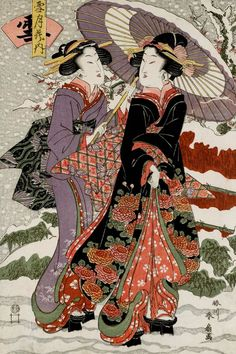 thekimonogallery: «Снег (Yuki) .. укиё-э гравюр, около 1810-х годов, Япония, художницы Katsukawa Shunka II»